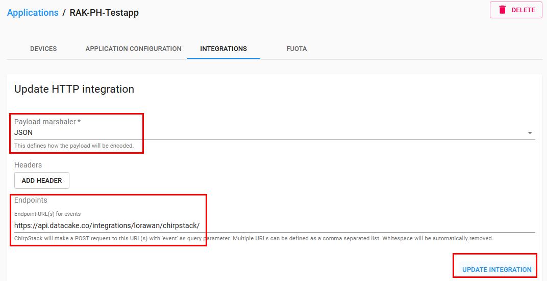 Chirpstack Application HTTP Integration